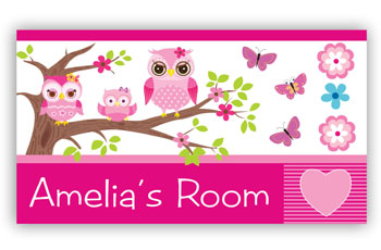 Kids Bedroom Door Sign - Pink Owl