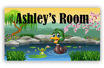 Kids Bedroom Door Sign - Duck & Frog In Pond