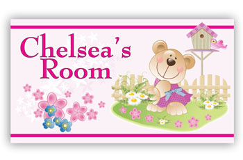 Kids Bedroom Door Sign - Teady Bear Girl