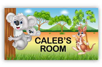 Kids Bedroom Door Sign - Australia Koala Kangaroo