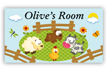 Kids Bedroom Door Sign - Farm Animals
