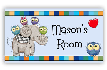 Blue Boys Bedroom Door Plaque Sign with Owls on Elephant