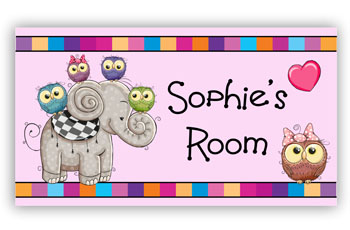 Kids Bedroom Door Sign - Elephant and Owls