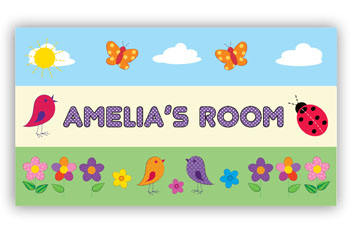 Room Door Sign with Ladybug and Birds Theme