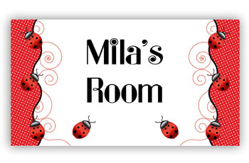 Kids Bedroom Door Sign -  Ladybug Red