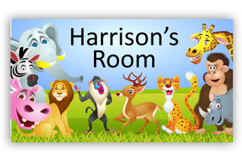 Room Door Sign with Zoo Jungle Safari Animals Theme
