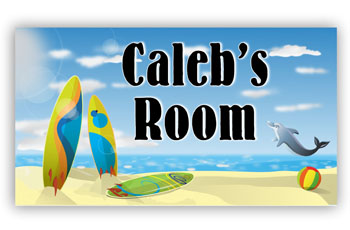 Kids Bedroom Door Sign - Surfing Theme