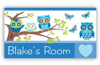 Owls Room Door Name Sign - Blue