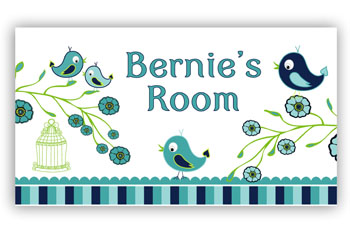 Bedroom or Door Sign - Blue Birds & Flowers