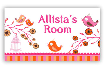 Bedroom or Door Sign - Pink Birds & Flowers