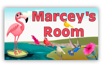 Bedroom Door Sign - Flamingo Birds