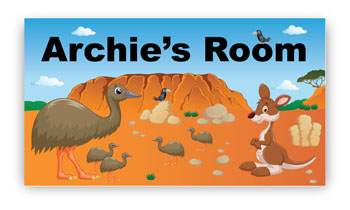 Bedroom Door Sign Plaque - Australian Emu & Kangaroo