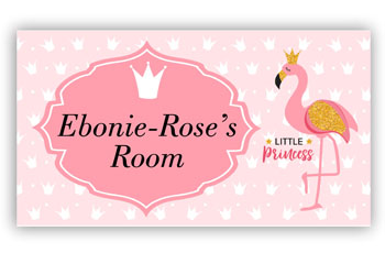 Girls Door Sign Plaque with Flamingo