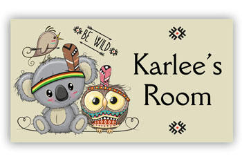 Kids Door Plaque with Cute Owl & Koala
